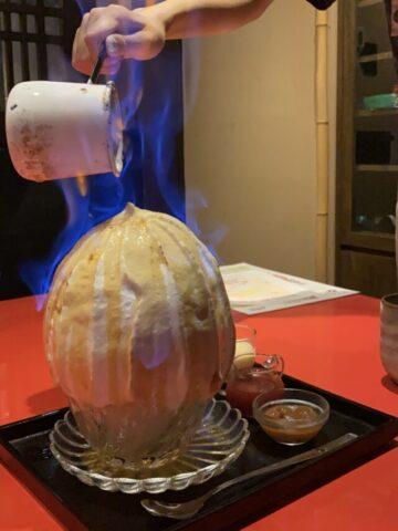 焼き氷をフランベ中